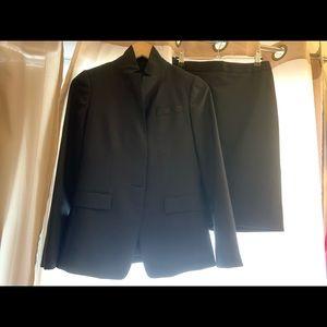 Jcrew super 180 wool skirt suit (black) - size 0